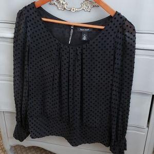 White House Black Market Swiss Dot velvet and silk